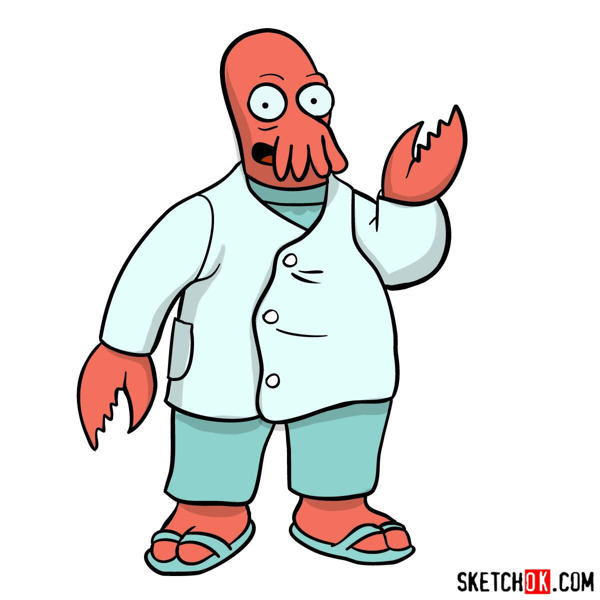 How to draw Doctor Zoidberg - coloring