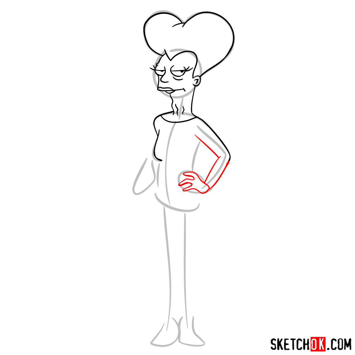 How to draw Mom from Futurama -  step 06