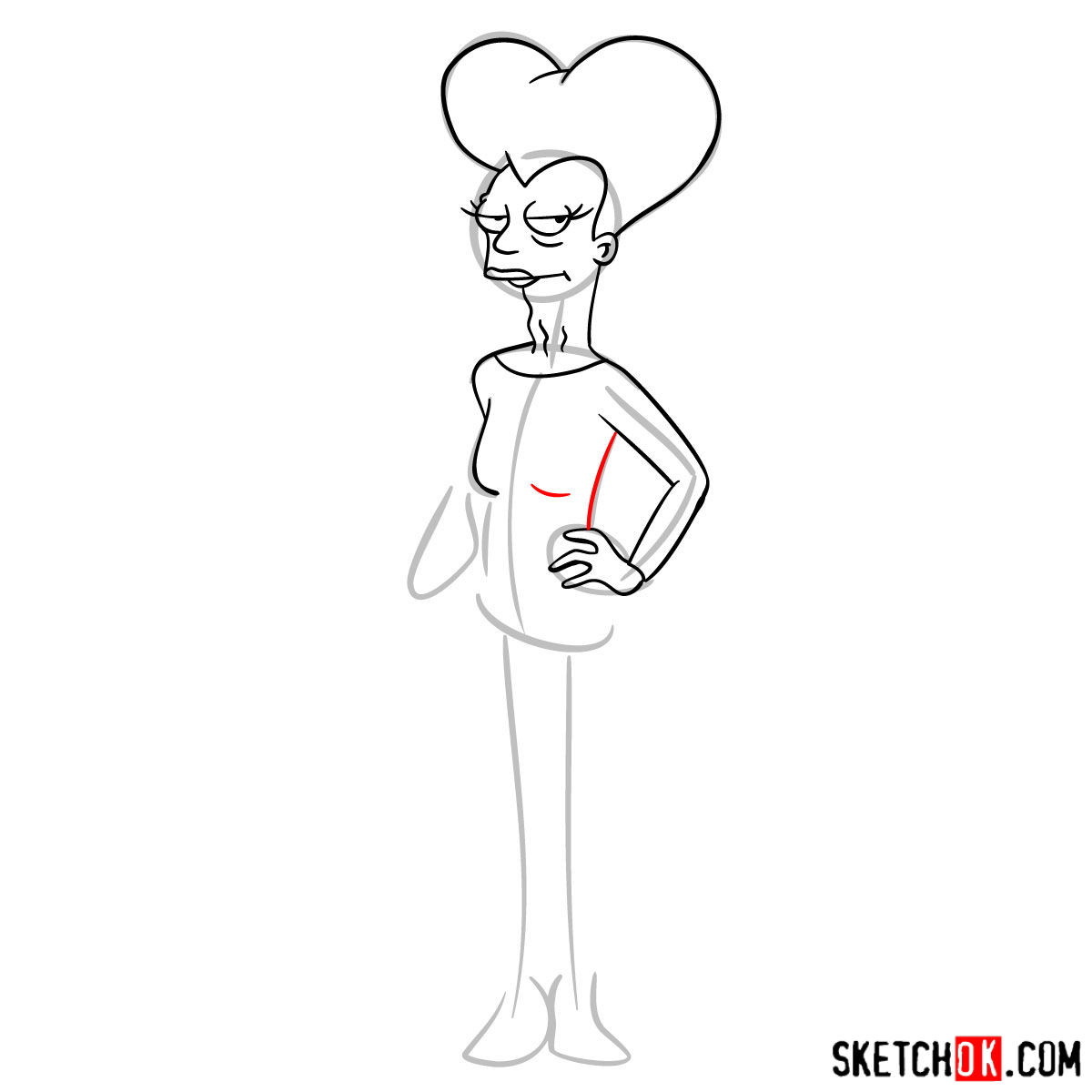 How to draw Mom from Futurama - step 07