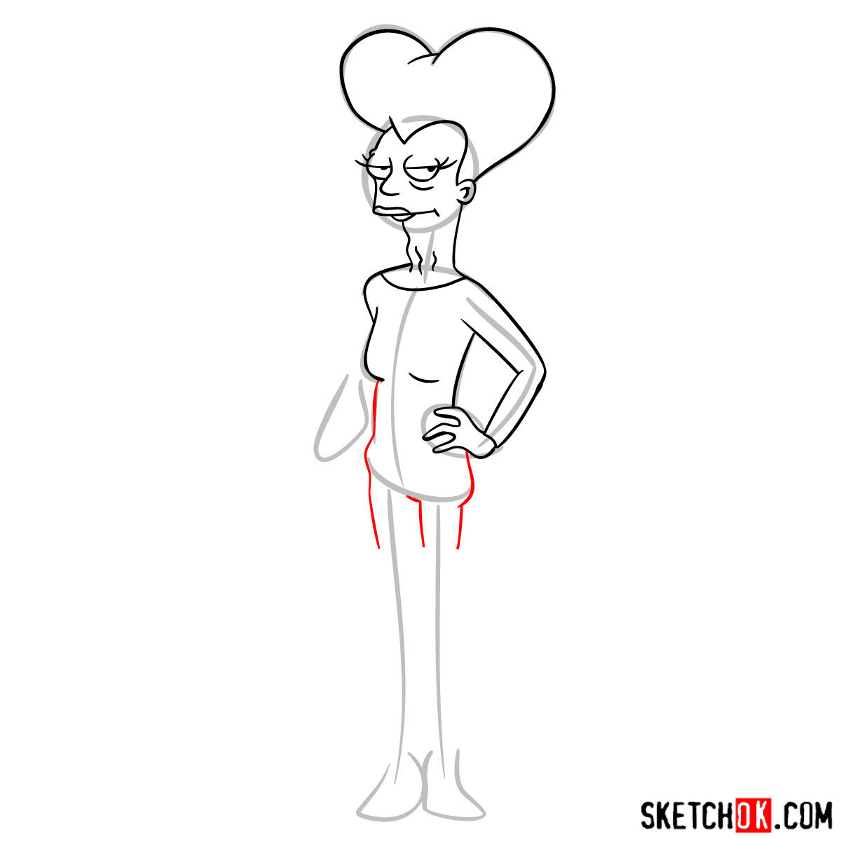 How to draw Mom from Futurama - step 08