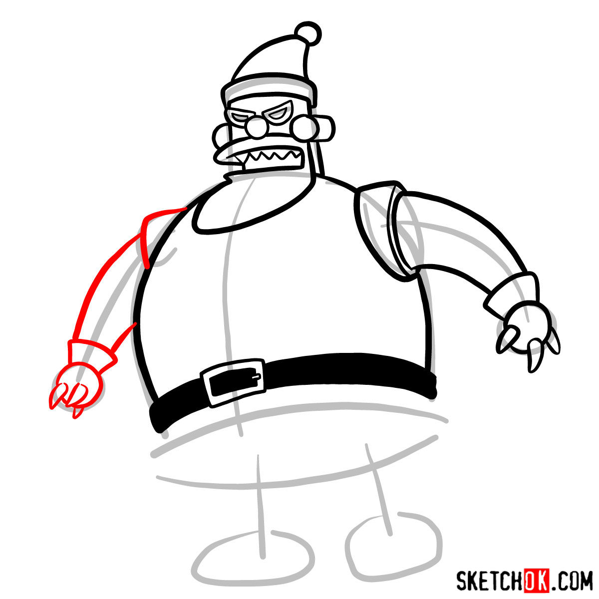 How to draw Robot Santa Claus - step 07