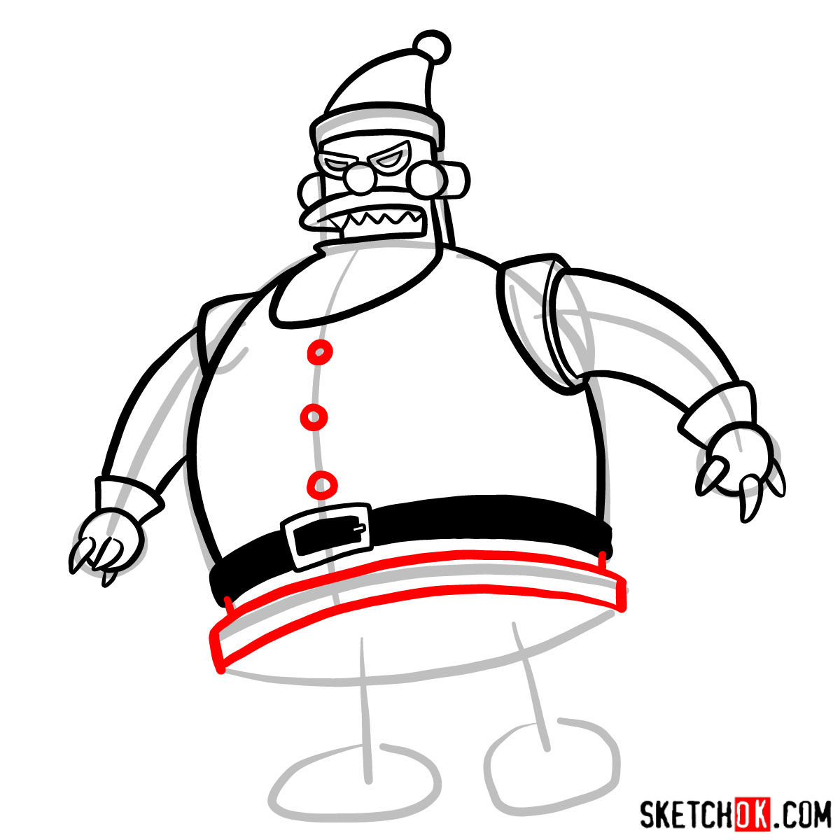 How to draw Robot Santa Claus - step 08