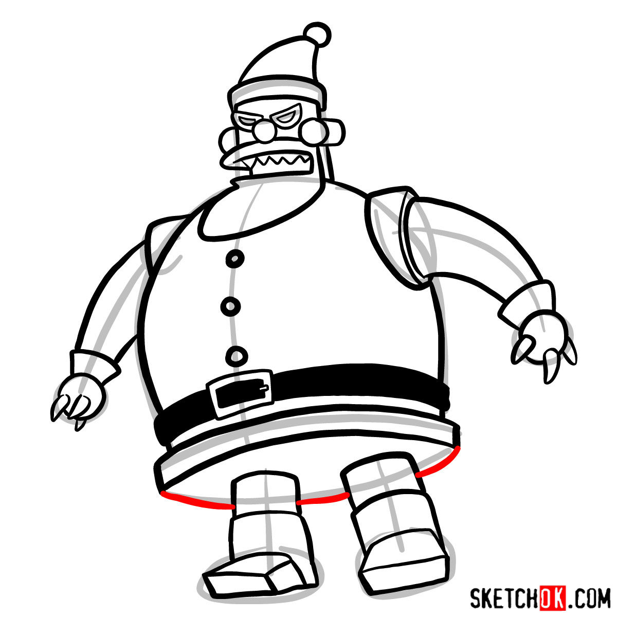 How to draw Robot Santa Claus - step 10