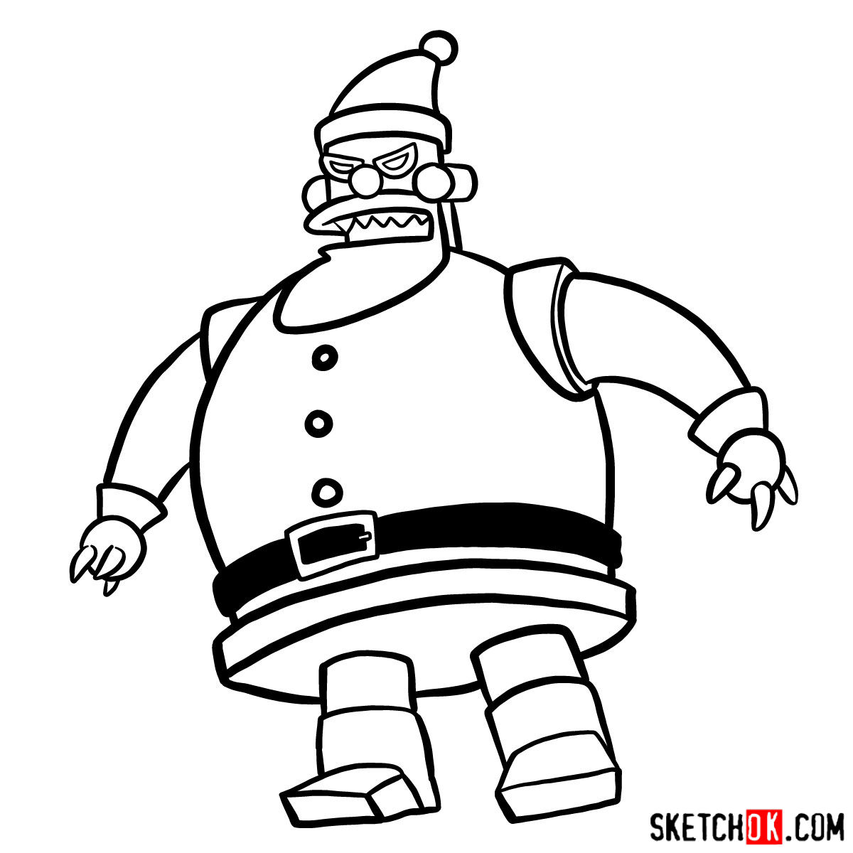 How to draw Robot Santa Claus - step 11