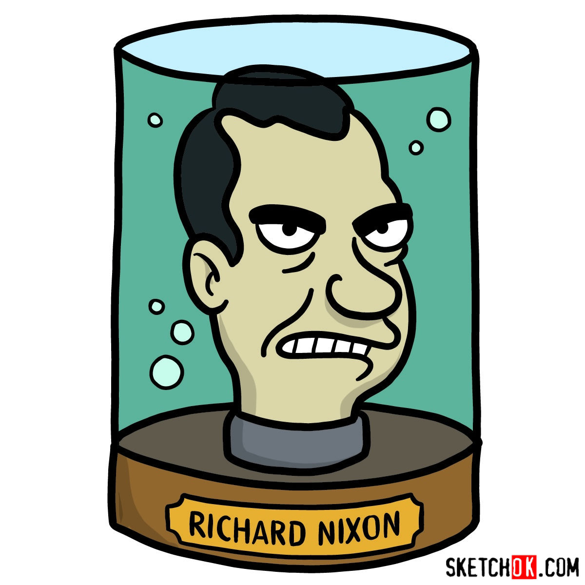 How to draw president Nixon's head - coloring
