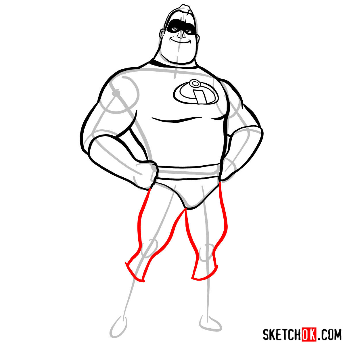 How to draw Bob Parr (Mr. Incredible) - step 08