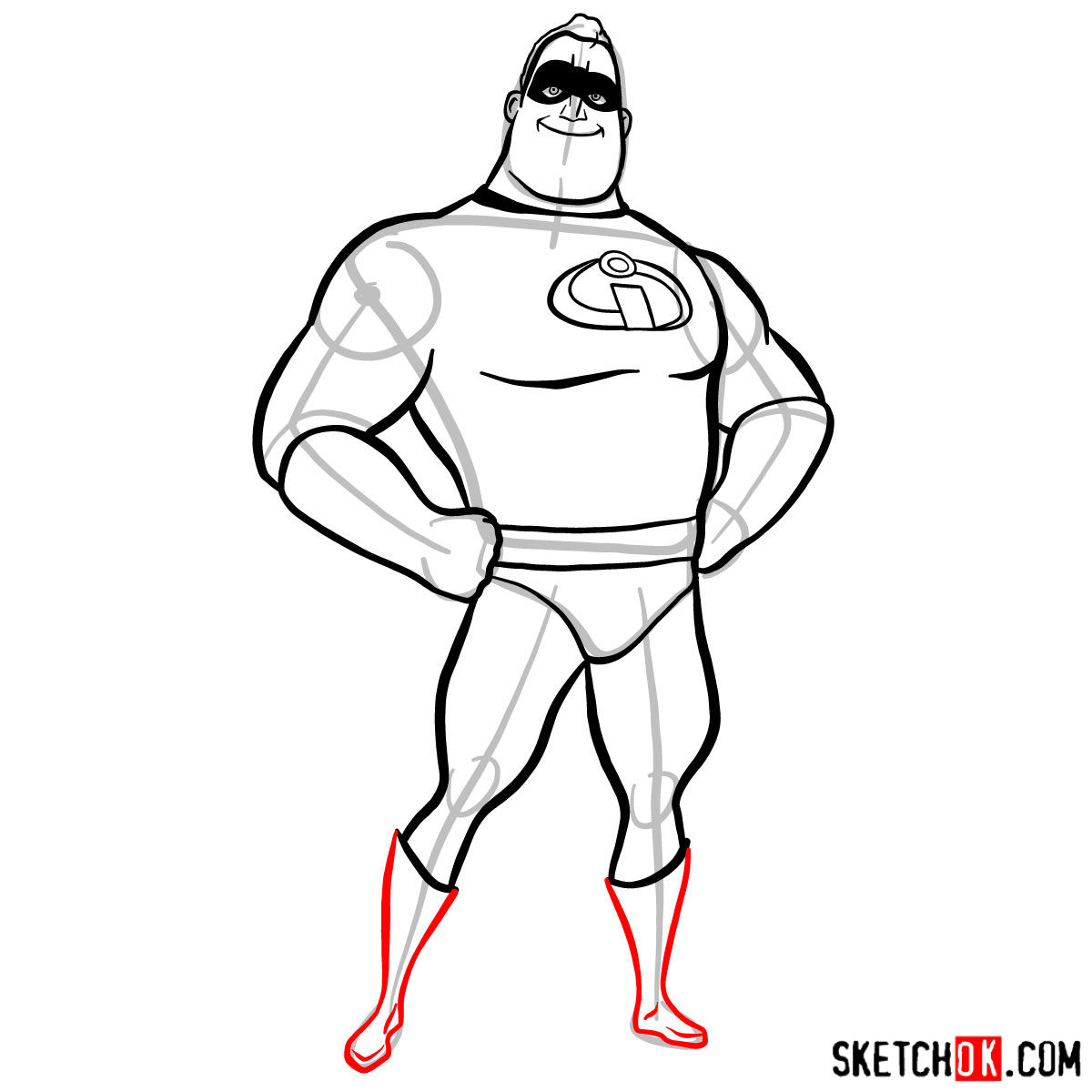 How to draw Bob Parr (Mr. Incredible) - step 09