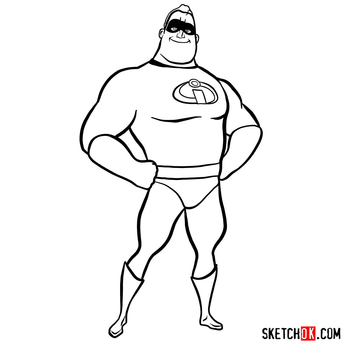 How to draw Bob Parr (Mr. Incredible) - step 10
