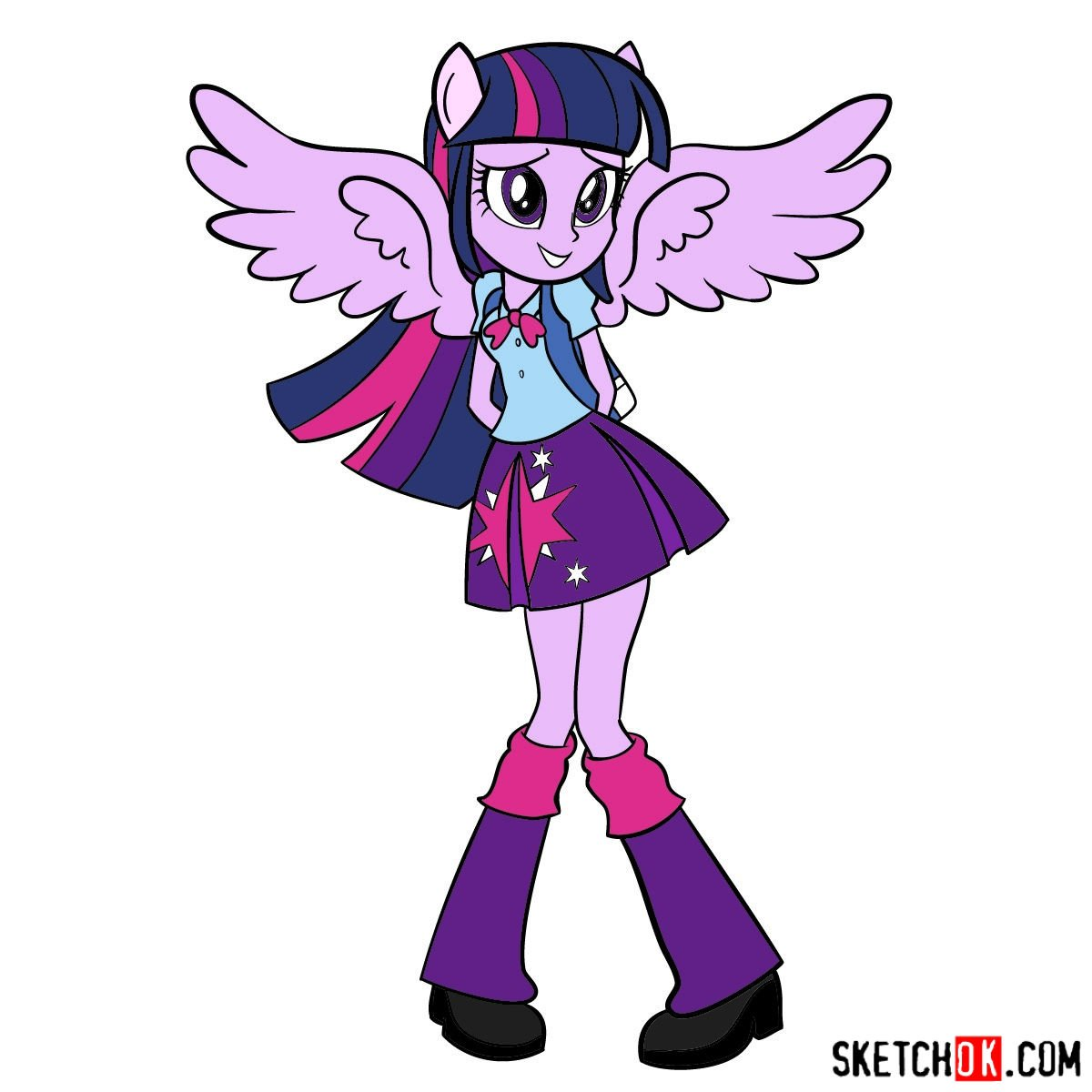 How to draw Twilight Sparkle - Equestria Girls - coloring