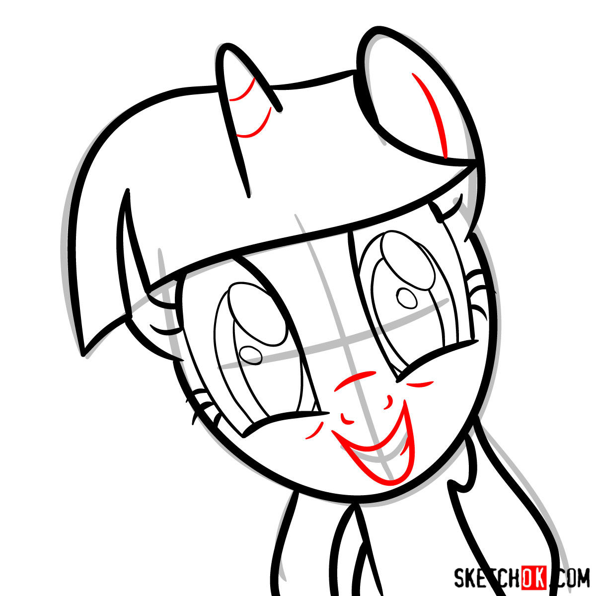 How to draw Twilight Sparkle face - step 06
