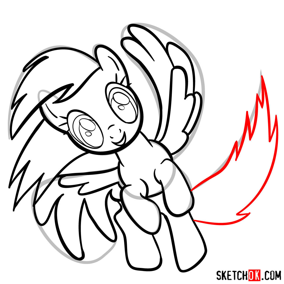 How to draw Rainbow Dash in a flight - step 11