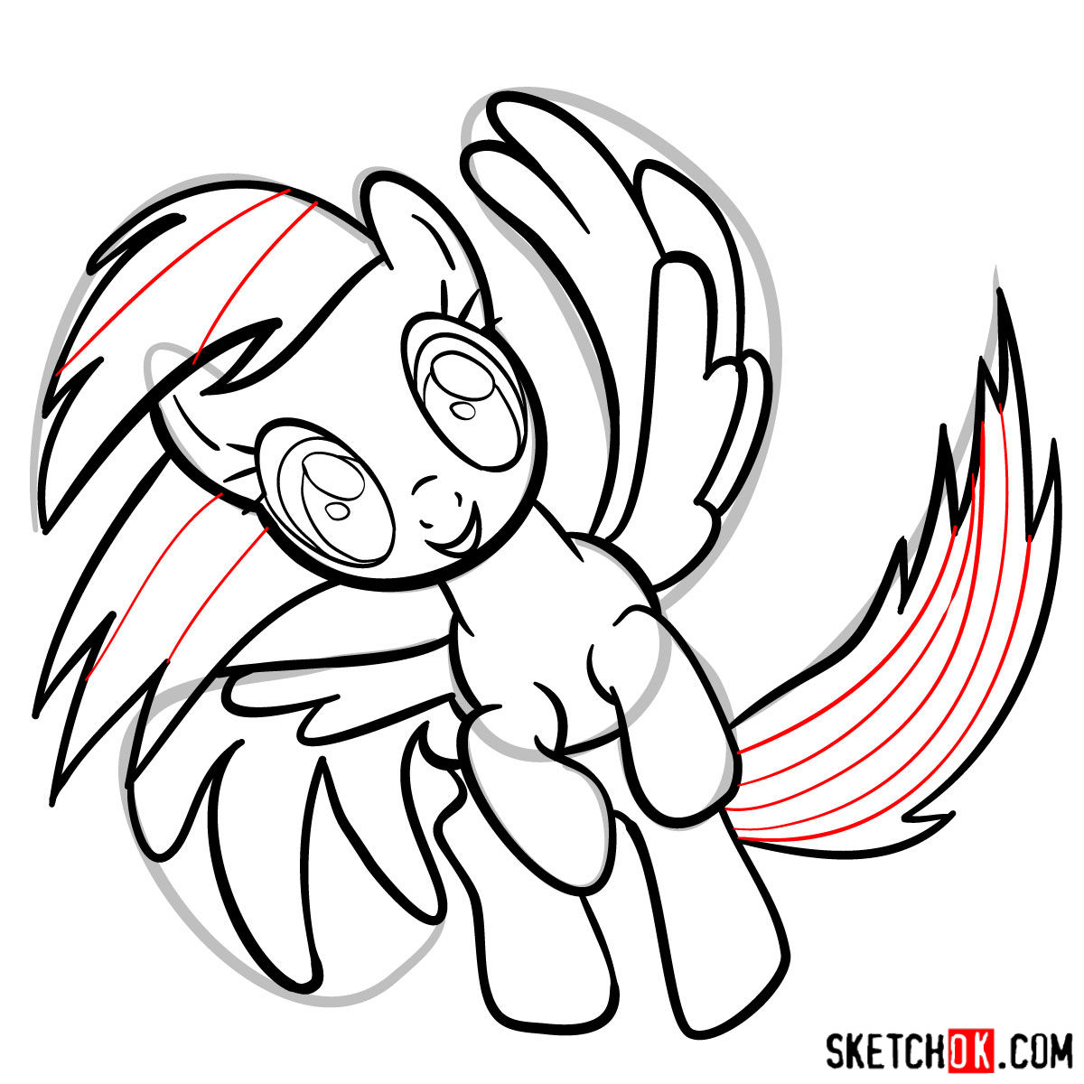 How to draw Rainbow Dash in a flight - step 12