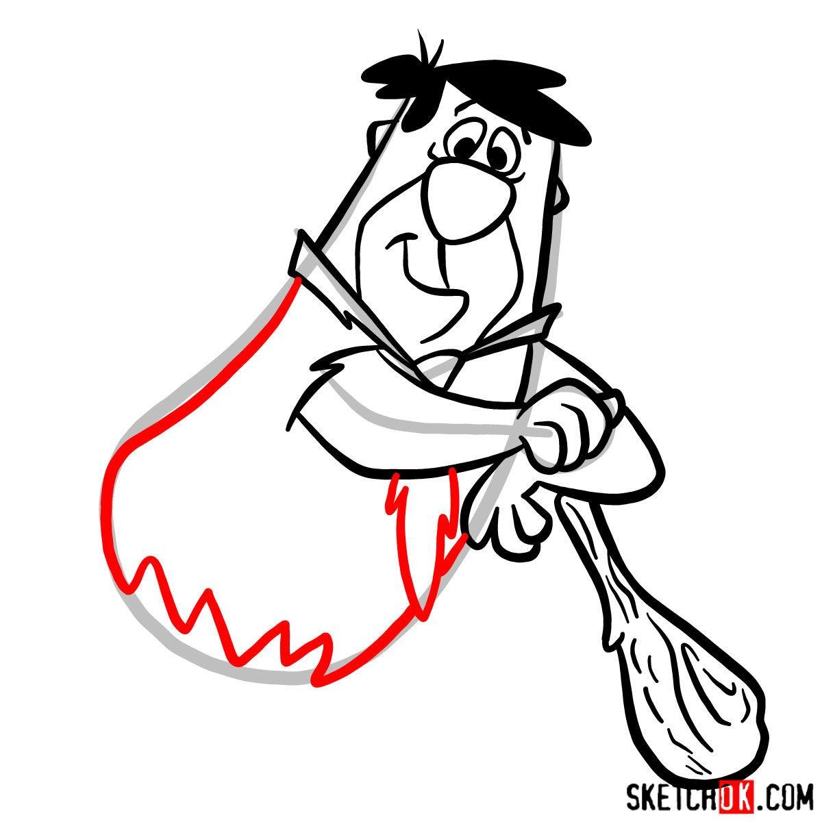 How to draw Fred Flintstone - step 09