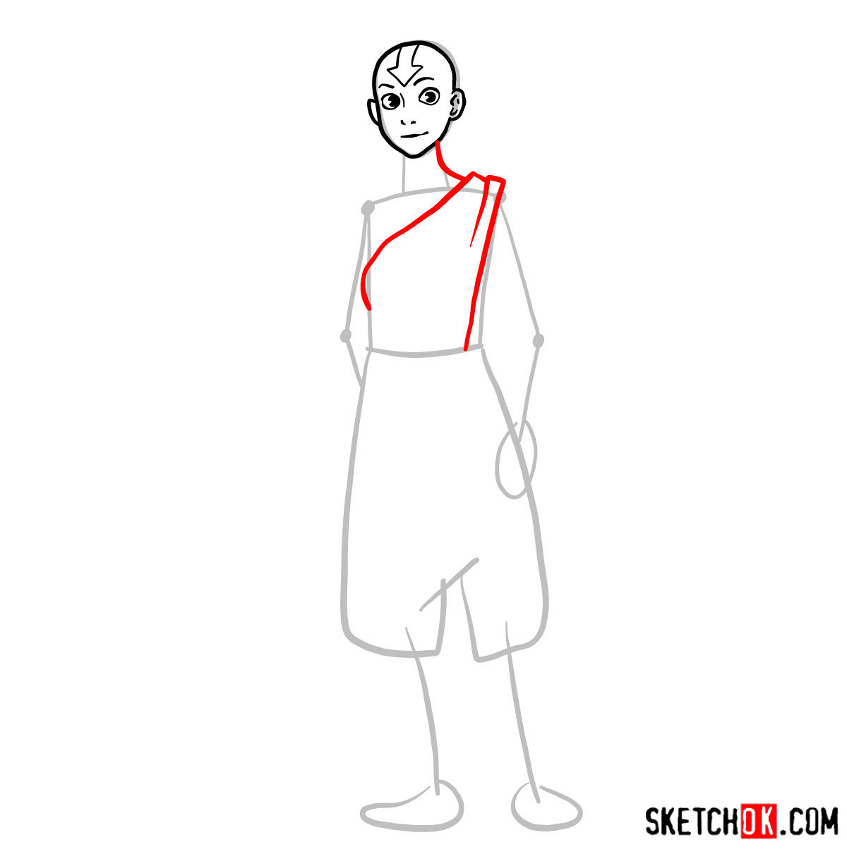How to draw Avatar Aang in full growth - step 04