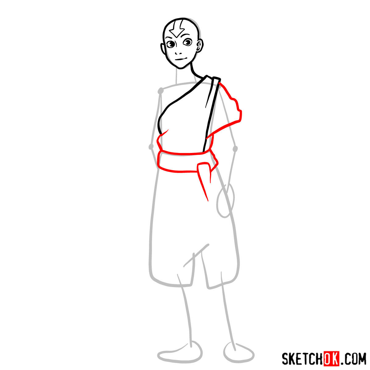 How to draw Avatar Aang in full growth - step 05
