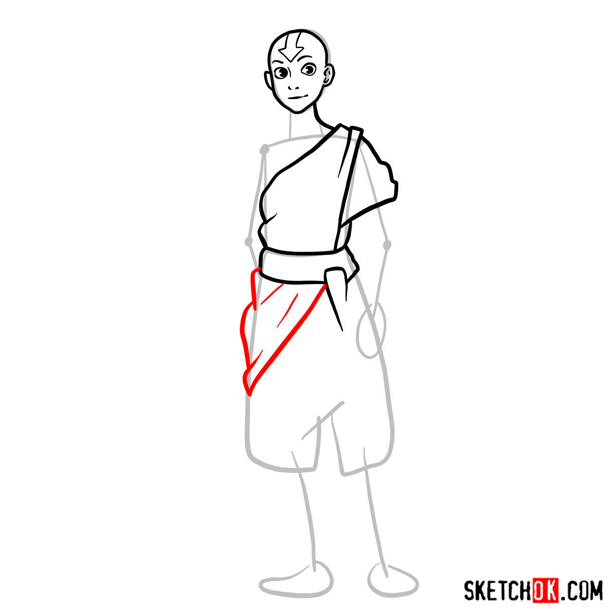 How to draw Avatar Aang in full growth - step 06