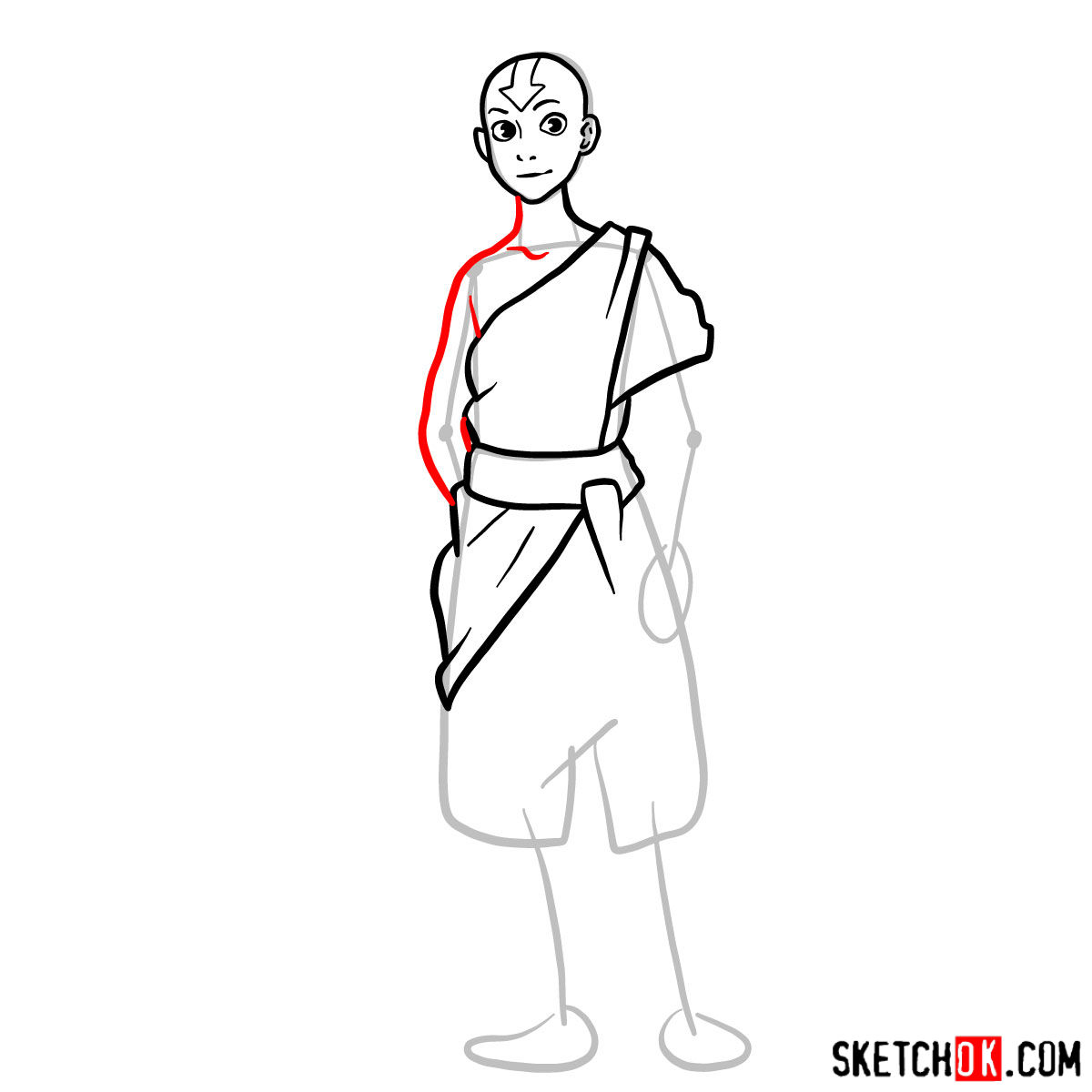 How to draw Avatar Aang in full growth - step 07