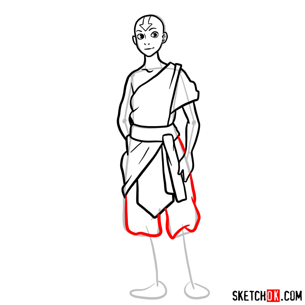 How to draw Avatar Aang in full growth - step 10