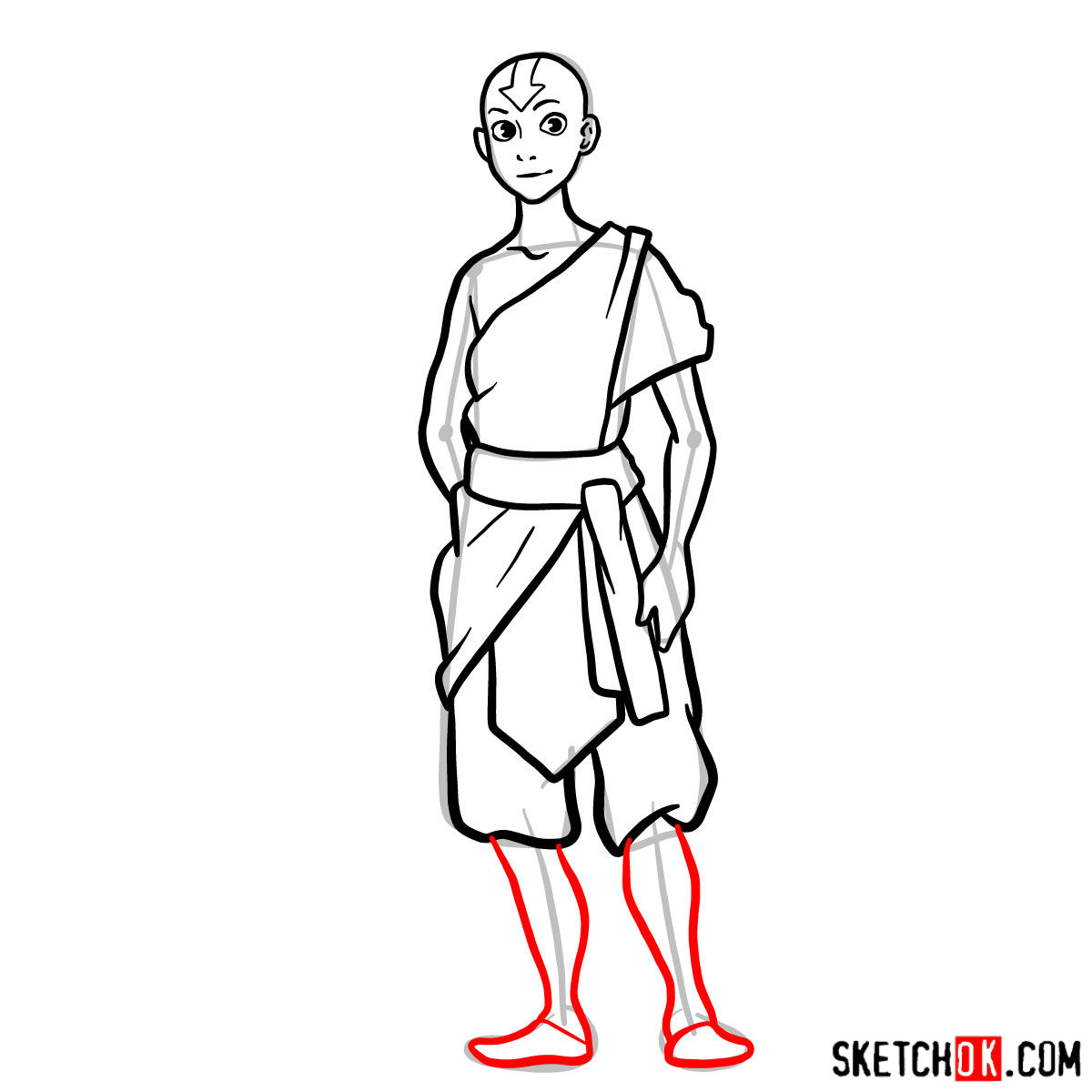 How to draw Avatar Aang in full growth - step 11