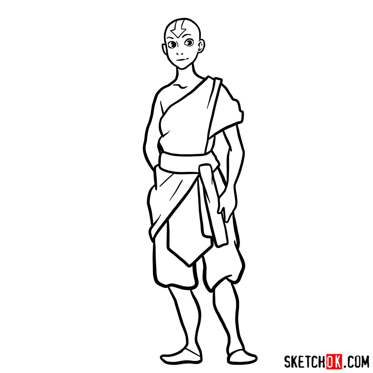 How to draw Avatar Aang in full growth - step 12