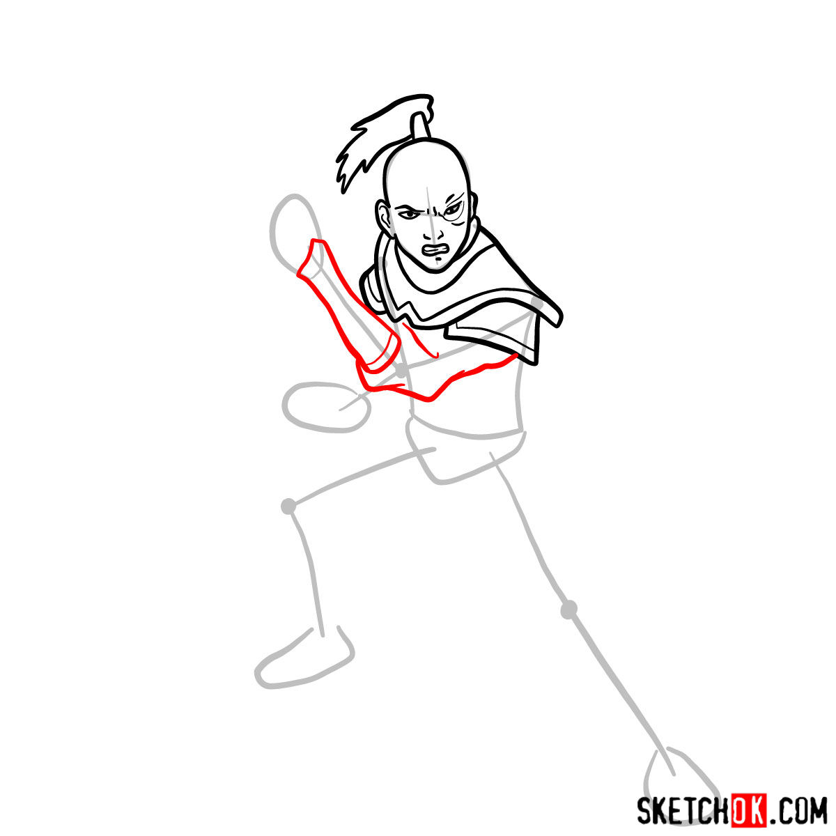 How to draw Zuko from Avatar series - step 06