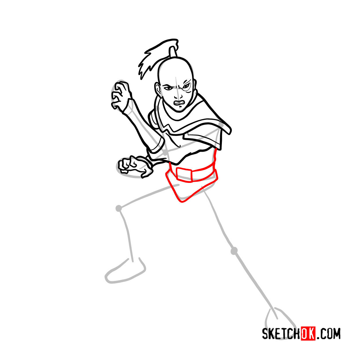 How to draw Zuko from Avatar series - step 08