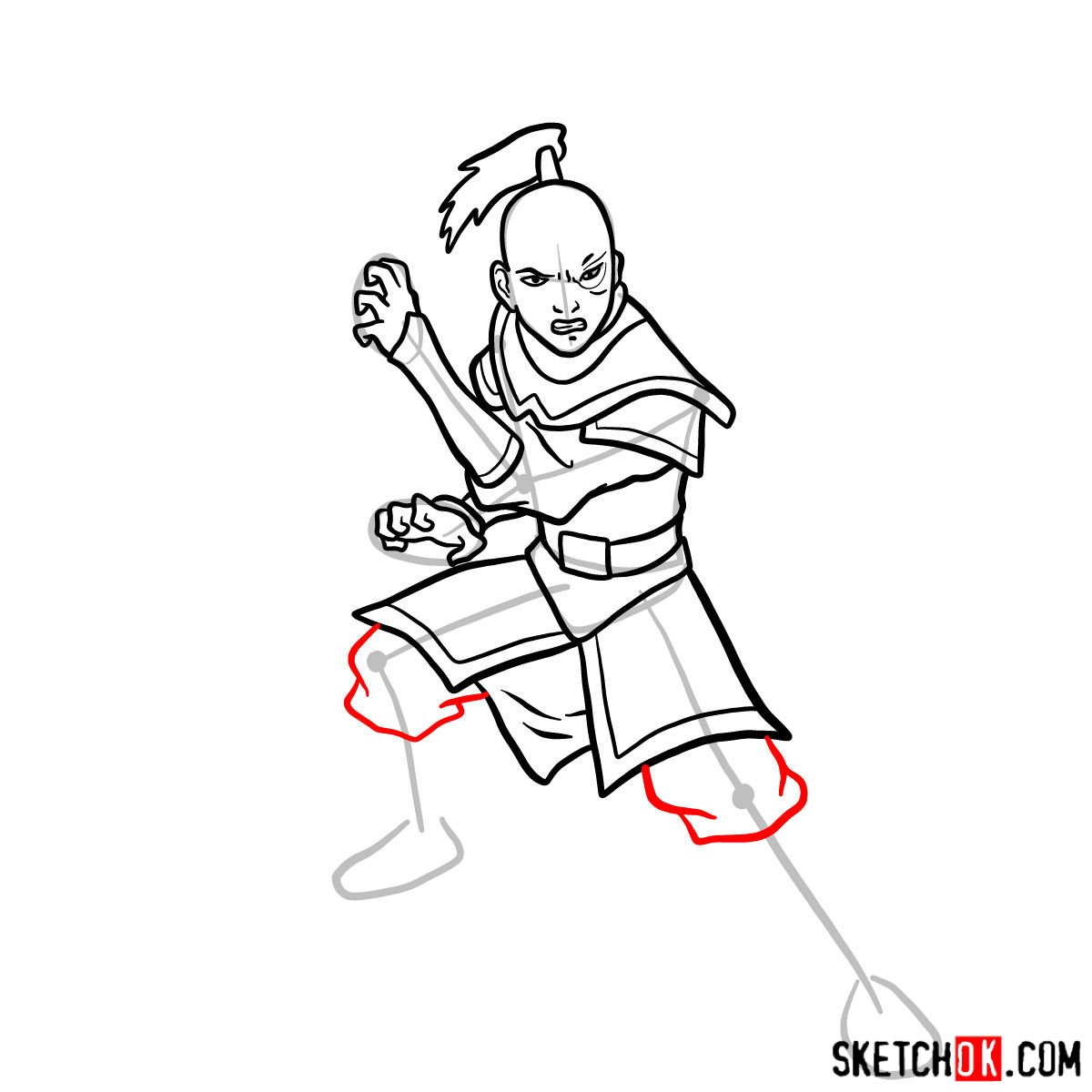 How to draw Zuko from Avatar series - step 10