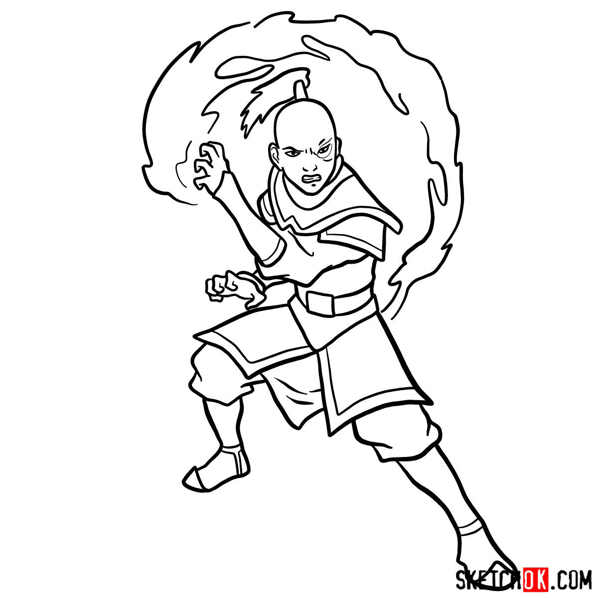 How to draw Zuko from Avatar series - step 13
