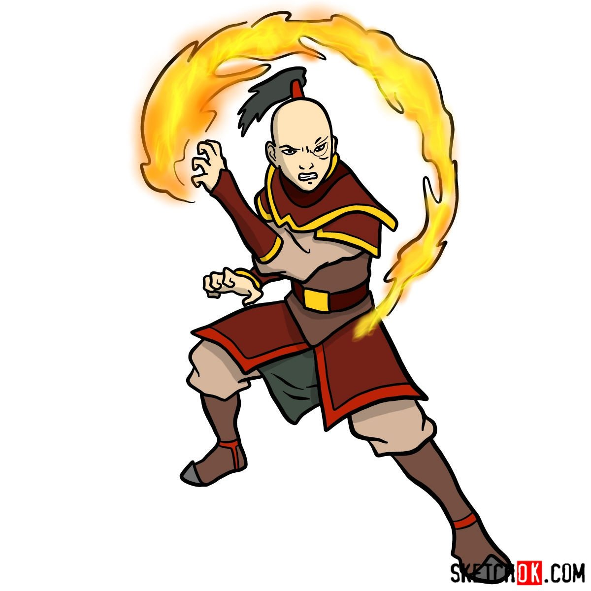 How to draw Zuko from Avatar series