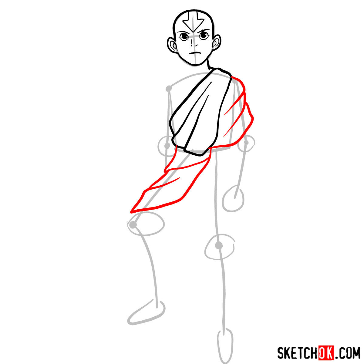 How to draw angry Aang - step 05