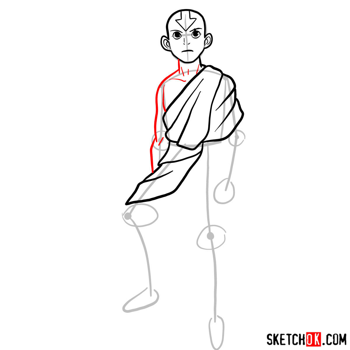 How to draw angry Aang -  step 06