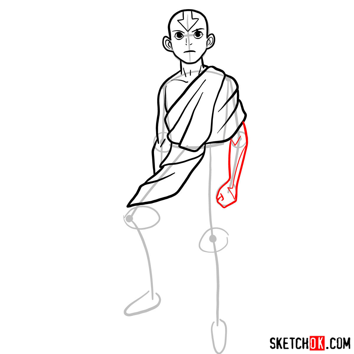 How to draw angry Aang - step 07
