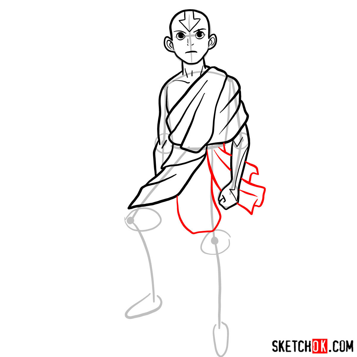 How to draw angry Aang - step 08
