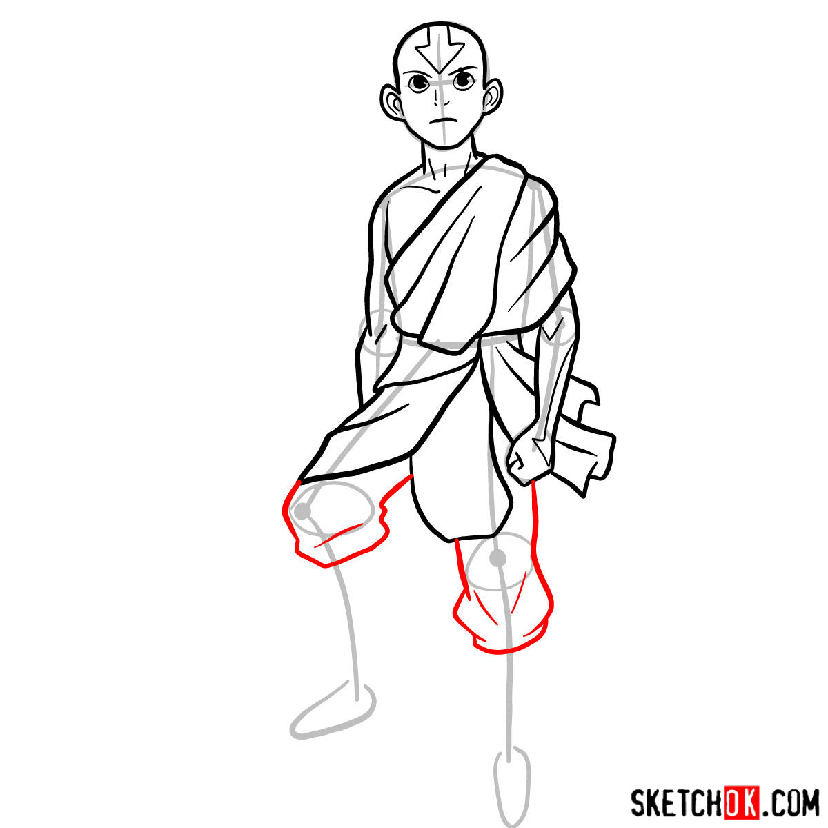 How to draw angry Aang - step 09