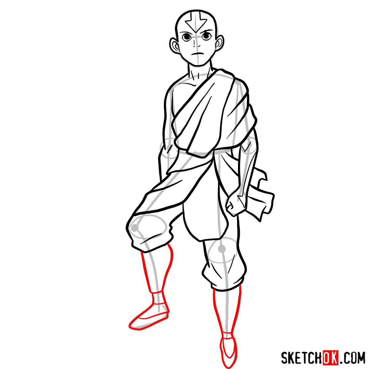 How to draw angry Aang - step 10