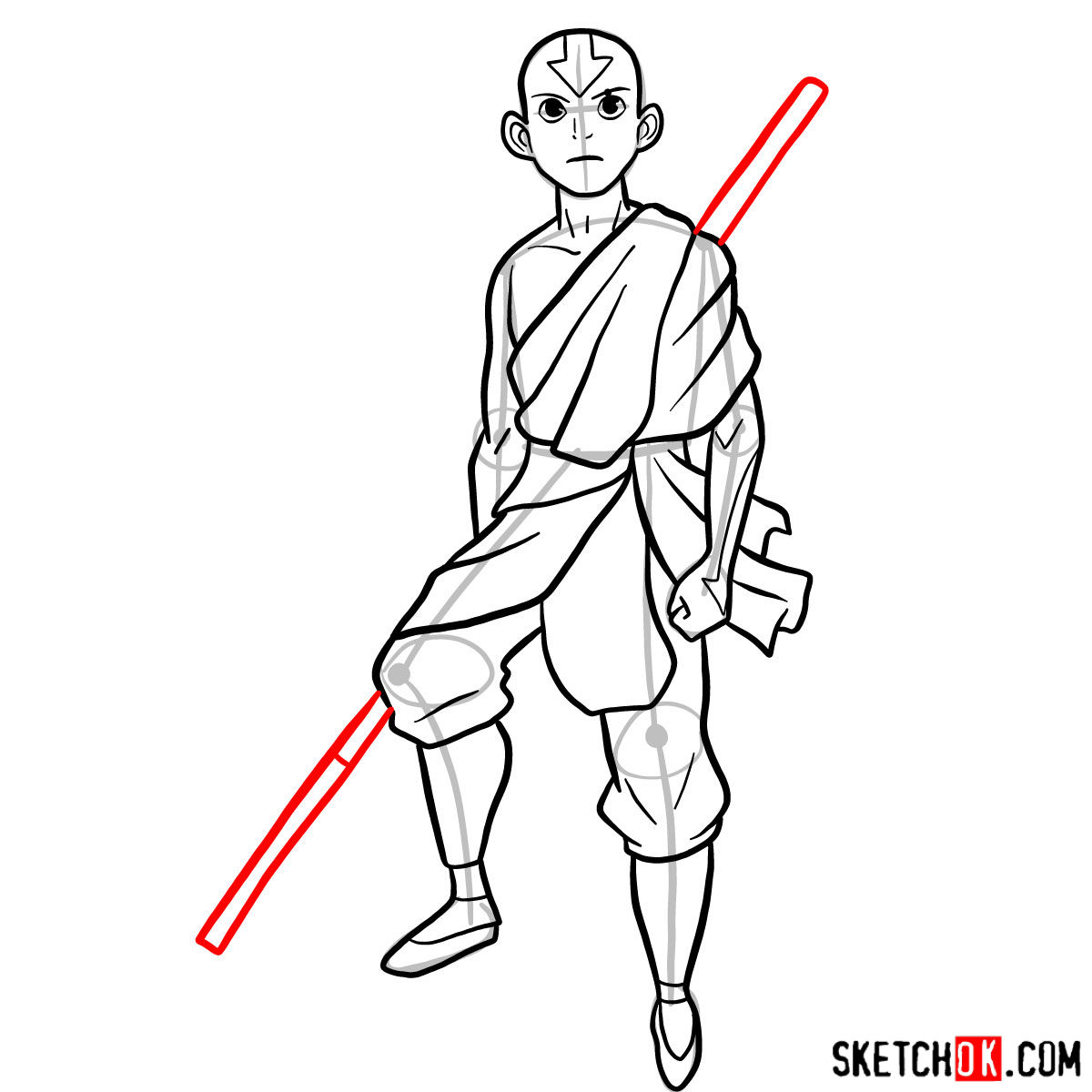 How to draw angry Aang - step 11