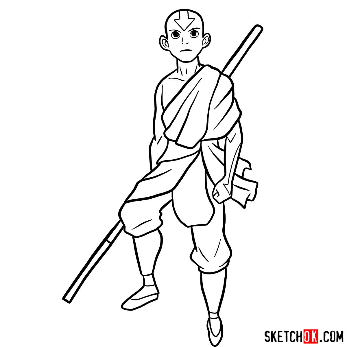 How to draw angry Aang - step 12