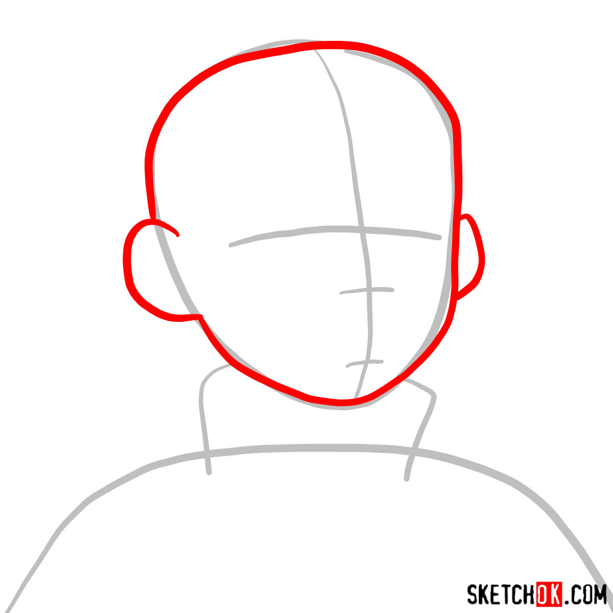 How to draw Aang's face - step 02