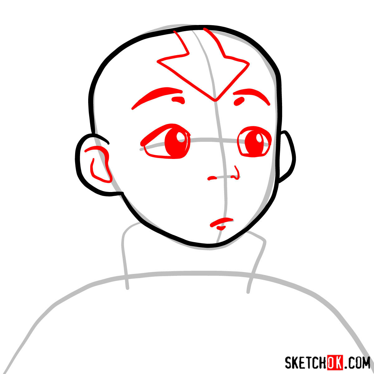 How to draw Aang's face - step 03