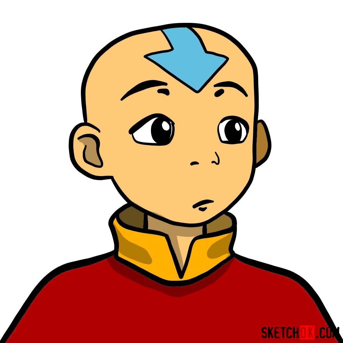 How to draw Aang's face