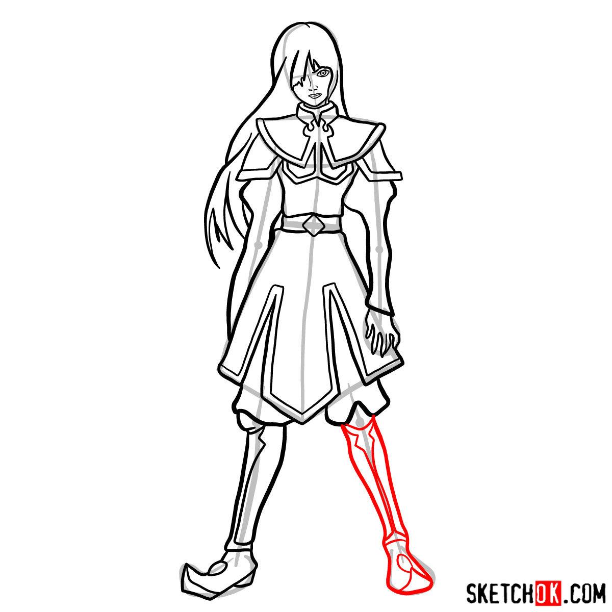How to draw Azula - step 12