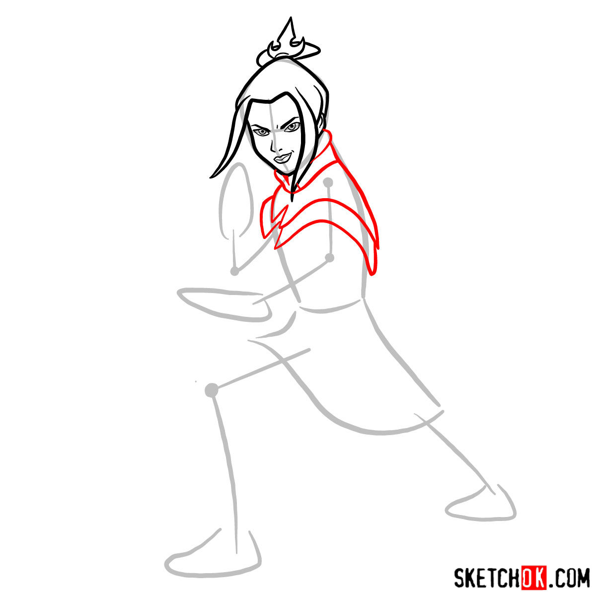 How to draw Azula in battle rack - step 05