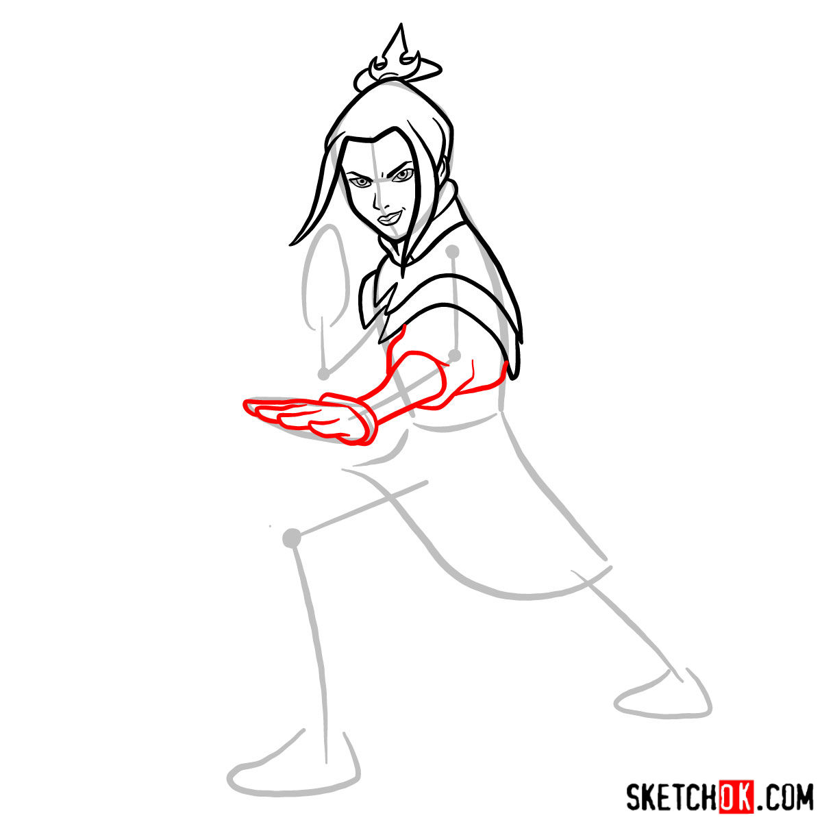 How to draw Azula in battle rack - step 06