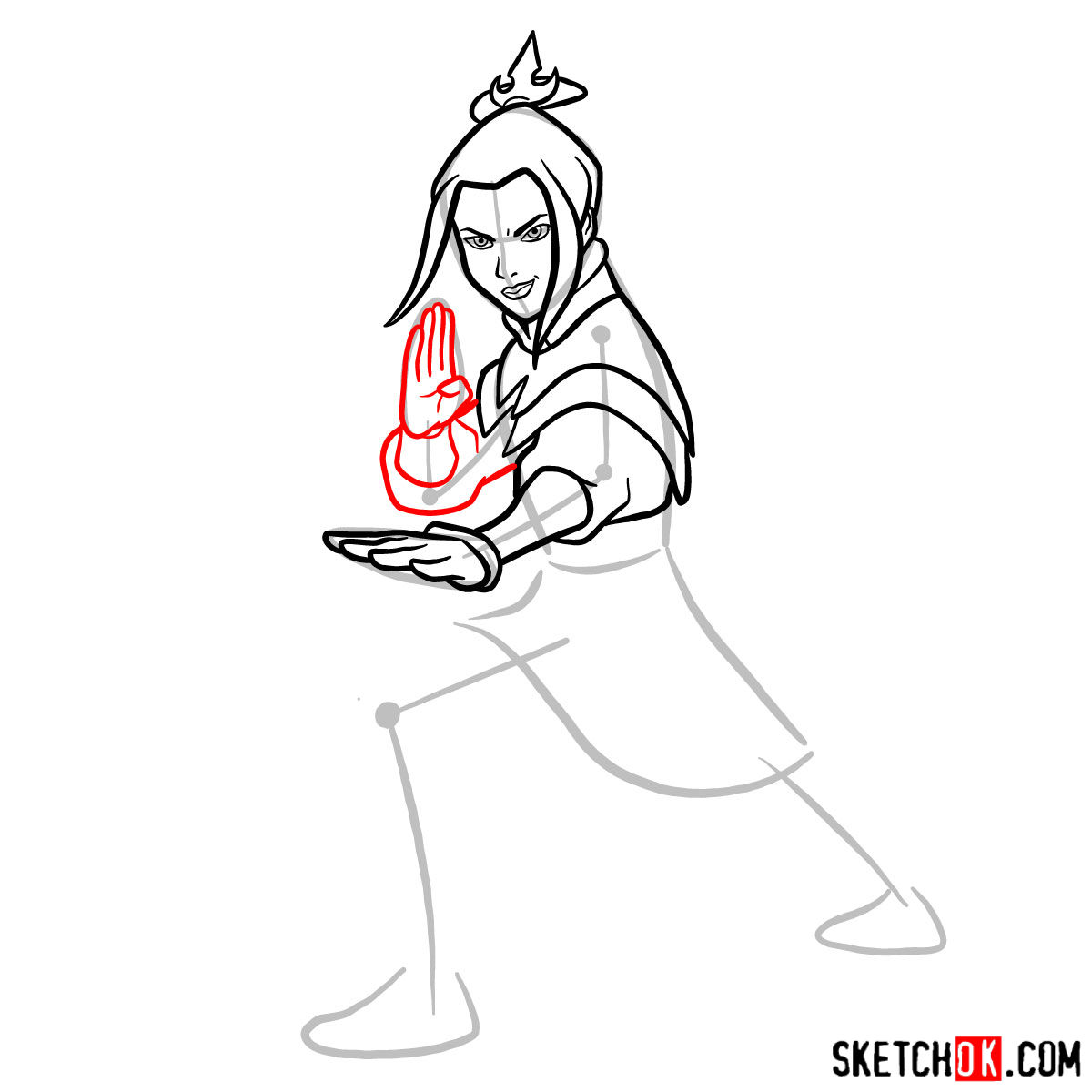 How to draw Azula in battle rack - step 07