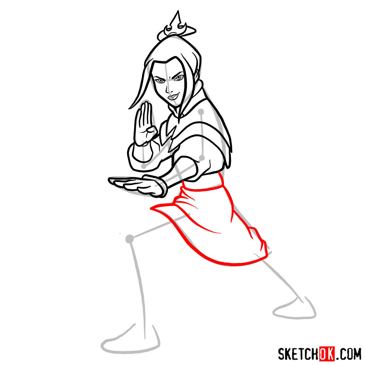 How to draw Azula in battle rack - step 08