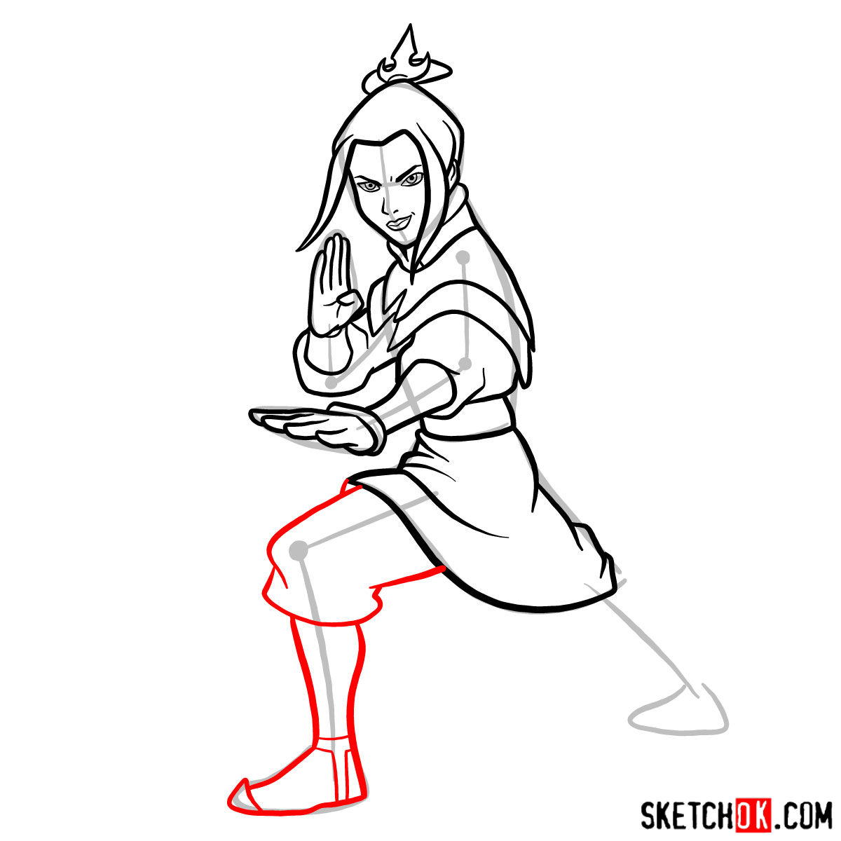 How to draw Azula in battle rack - step 09