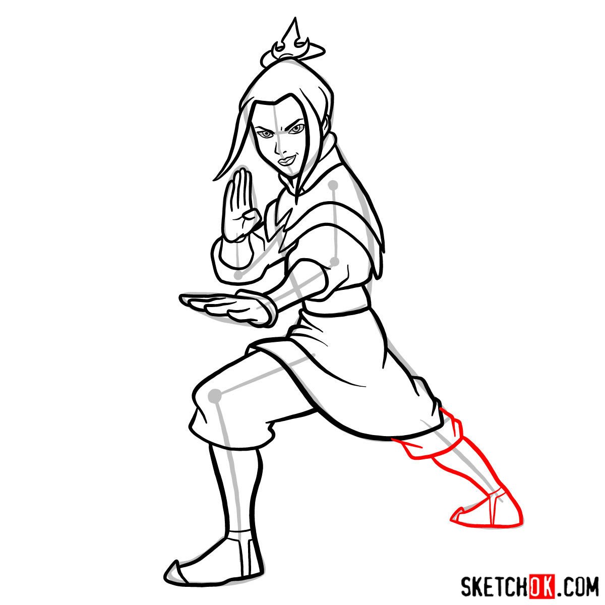 How to draw Azula in battle rack - step 10