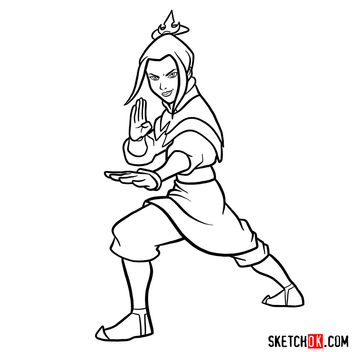 How to draw Azula in battle rack - step 11