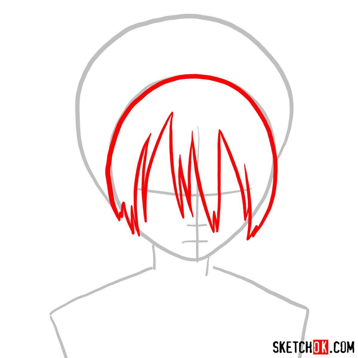 How to draw Toph Beifong's face - step 02