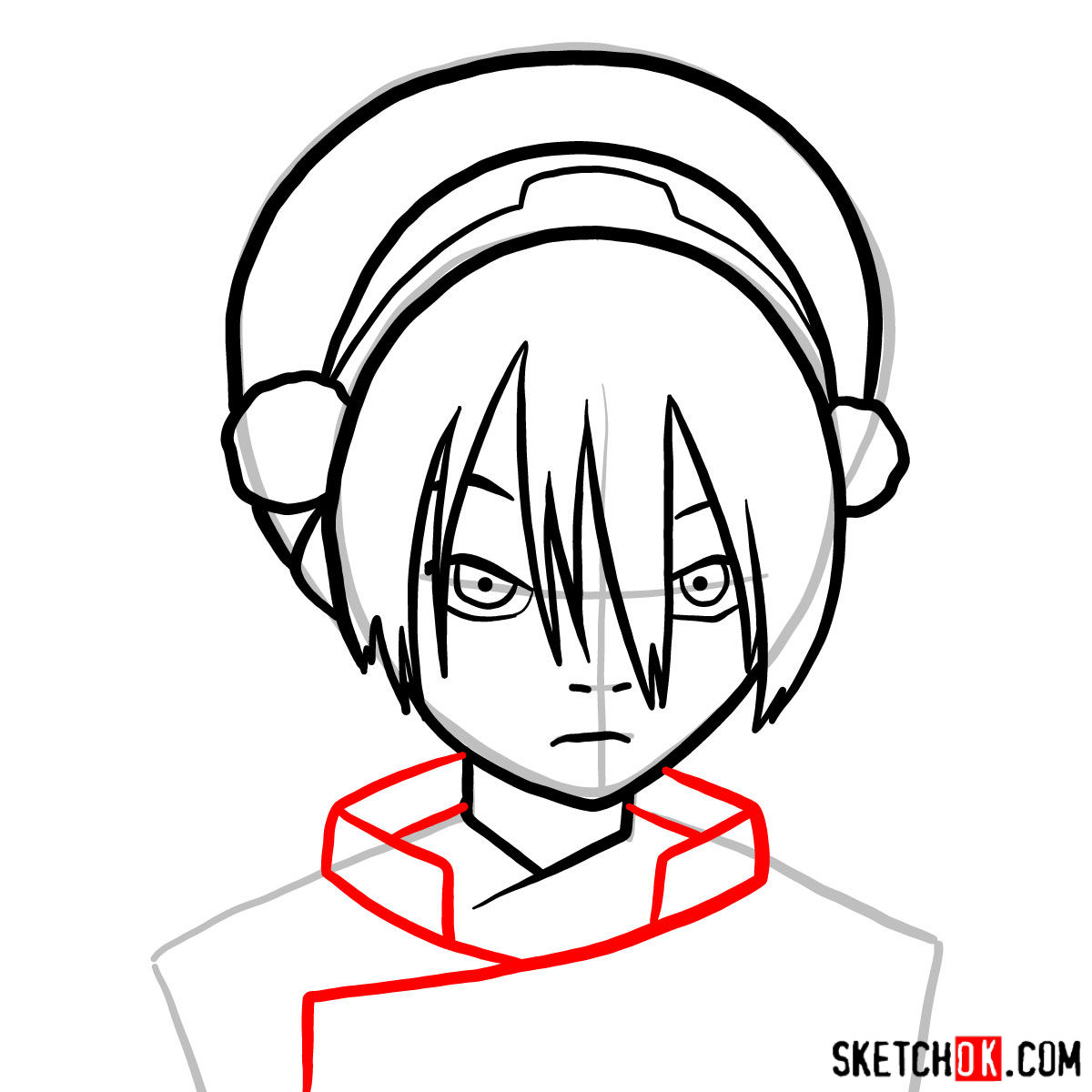 How to draw Toph Beifong's face - step 07